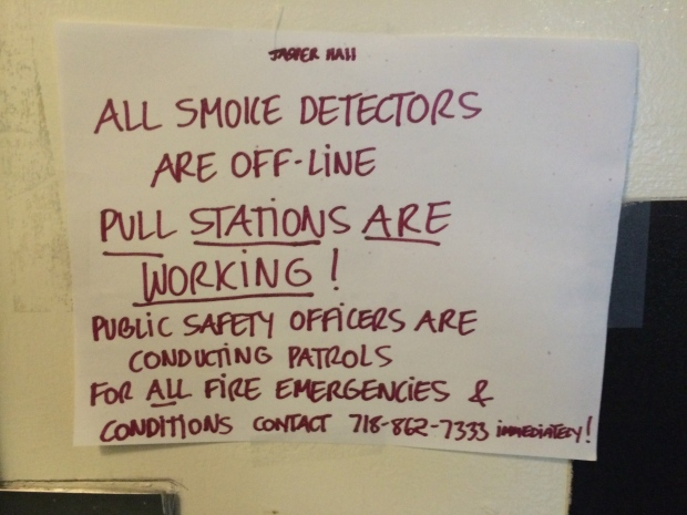 Signs like the one pictured above were posted in Jasper Hall informing residents of this situation.