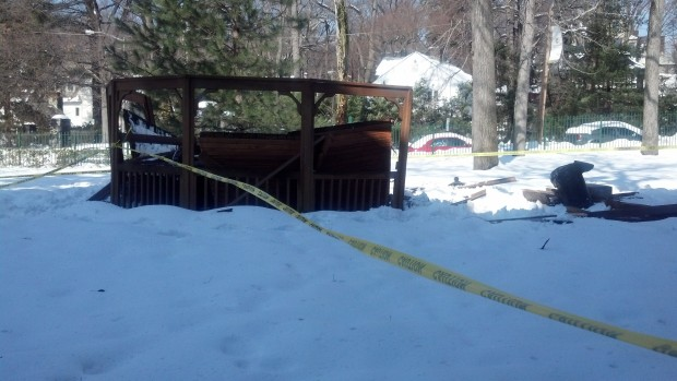 The popular gazebo behind Jasper Hall collapsed under the weight of snow shortly after two students exited it, according to Ryan. Photo by Michelle DePinho.