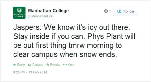 Manhattan College took to Twitter during the storm to warn students of the dangerous conditions on campus. Courtesy of @ManhattanEdu.
