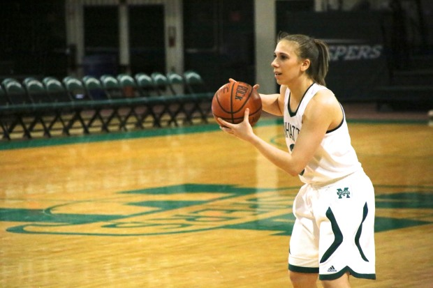 Allison Skrec, above, finished with 10 points and six assists in the loss to Rider. She had 14 points, five rebounds and five assists in the win against Siena, and has been a bright spot for Manhattan despite its struggles. Photo taken by James O'Connor