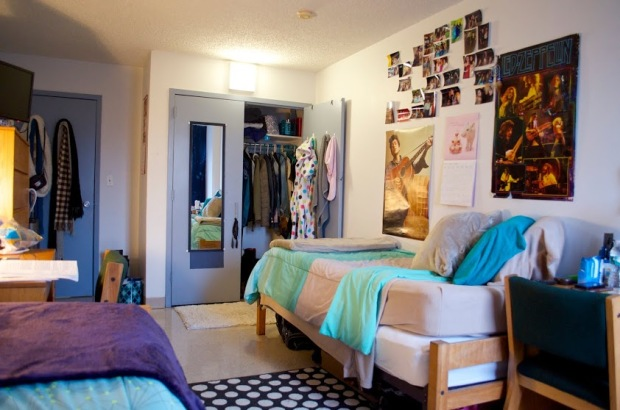 A dorm room in Horan Hall. Photo by Ashley Sanchez.