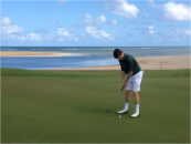 Paul Toohey lines up at the Puerto Rico 12th green championship course. Photo courtesy of Toohey.