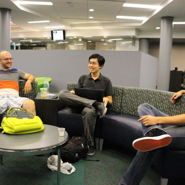 Students are using the commons space to socialize as well as eat. Photo by James O'Connor.