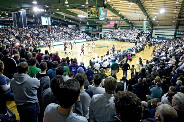 Draddy's lack of space has contributed to its electric atmosphere as students pack in for a men's basketball game. Courtesy of gojaspers.com.