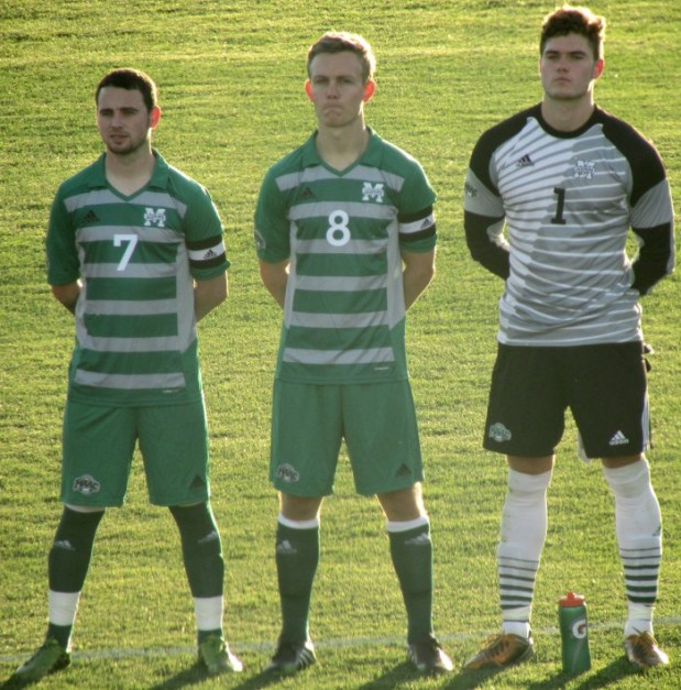 Tommy Amos, Alex Shackley and Alex Coates McDowall during player introductions before the first game of the year at Lehigh. Photo by Jonathan Reyes