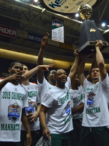 A week and a day after lifting the MAAC trophy, Manhattan will be contending for a more elusive one. Photo by Kevin Fuhrmann.