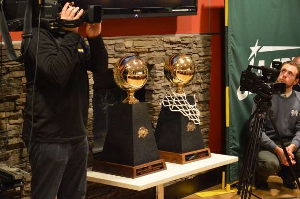 Manhattan's two MAAC trophies were on display at Cafe 1853, but now it will contend for a much more elusive one, the NCAA Tournament trophy. Photo by Chris Cirillo.