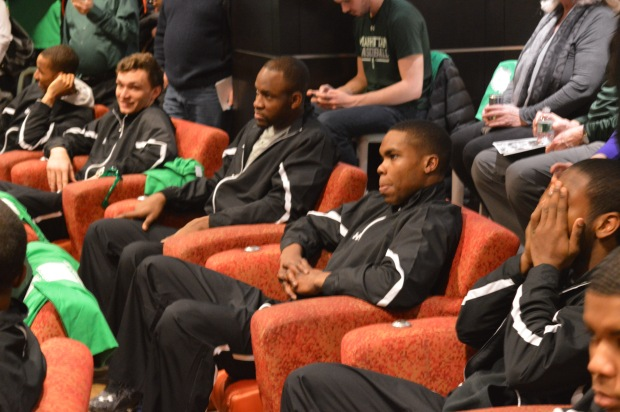 From left to right: Zane Waterman, Samson Usilo, Rich Williams and Tyler Wilson patiently wait to learn their fate. Photo by Chris Cirllo.