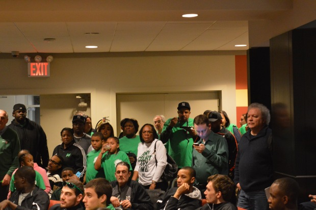 Hundreds of friends, family and alumni packed Cafe 1853 to see where the Jaspers would be seeded at the NCAA Tournament. Photo by Chris Cirllo.
