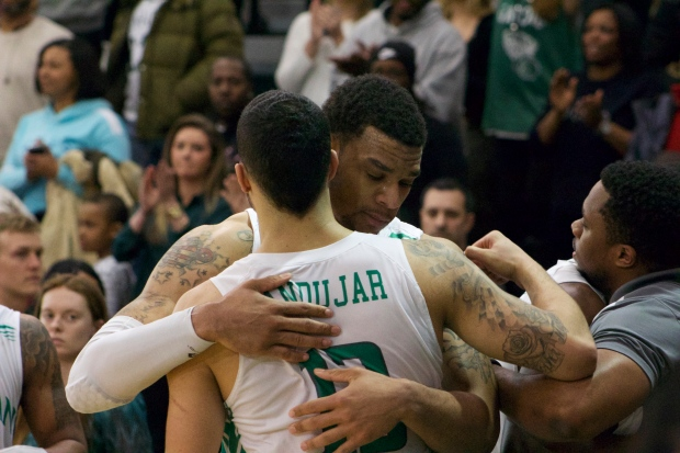 Emmy Andujar and Ashton Pankey embrace after their final regular season game as Jaspers. Photo taken by Kevin Furhmann.