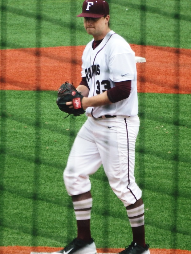 "Fordham pitcher Ben Greenberg going into his windup during yesterday's first ""Battle of the Bronx."" Photo taken by Jonathan Reyes."