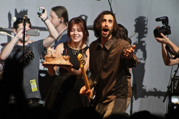Lead singer Tyson Ritter celebrated his recent birthday on stage at the concert. Photo by Kevin Fuhrmann
