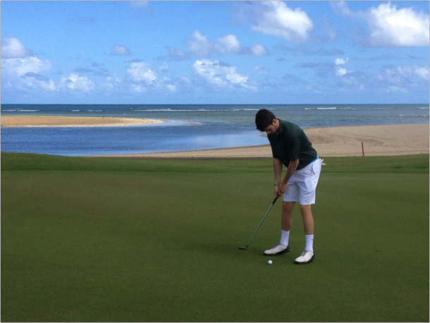 Paul Toohey lines up his shot at the '14 Puerto Rico 12th Green Championship course. Photo courtesy of Paul Toohey.