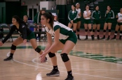 Jade Gray posted 30 assist and nine digs, but it wasn't enough for the Jaspers to beat Marist. Photo by Kevin Fuhrmann.