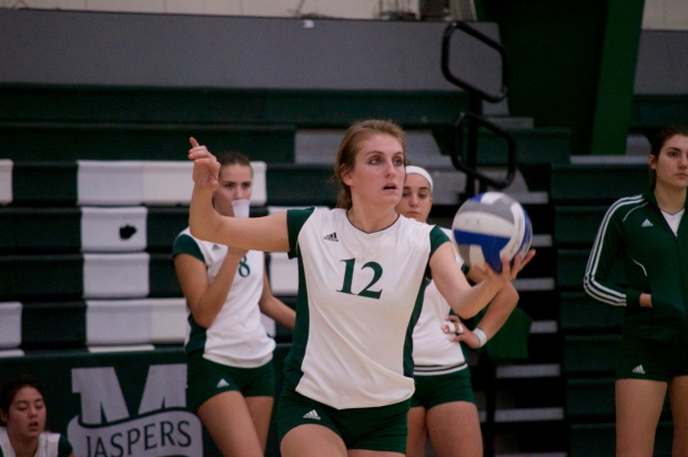 Jade Gray posted 30 assists and nine digs on Sunday, but it wasn't enough to beat Marist. Photo by Kevin Fuhrmann.