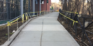 The damage done on the pathway is expected to take up to 4-6 weeks to repair since both sides are custom-made for the campus. Caution tape currently covers both areas of the pathway. TAYLOR BRETHAUER & ROSE BRENNAN / THE QUADRANGLE